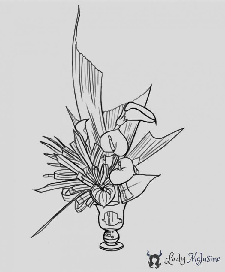 Sketch Of Vase Of Flowers Lady Melusine