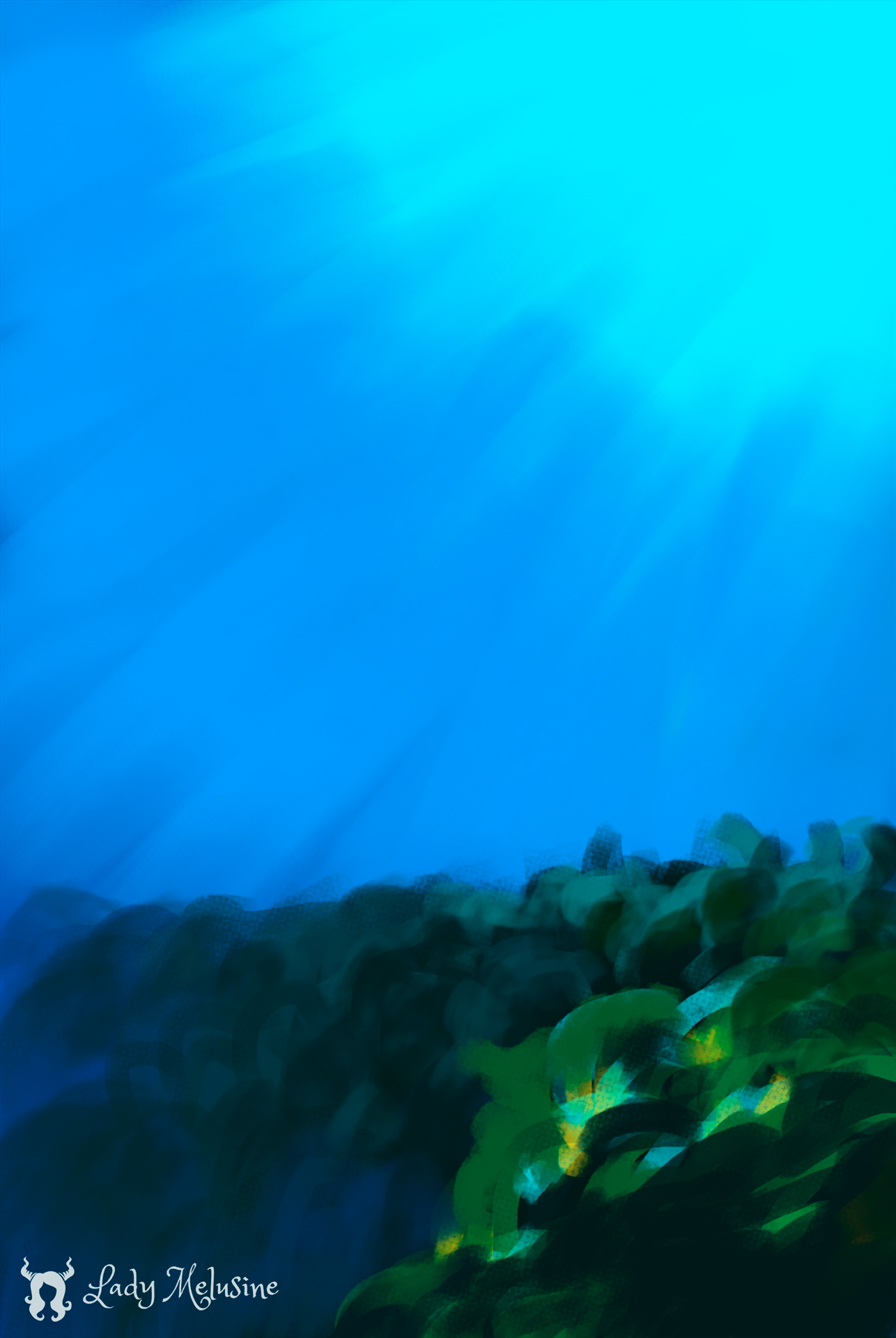Digital Painting Carte Recifs Requins 03 Lady Melusine