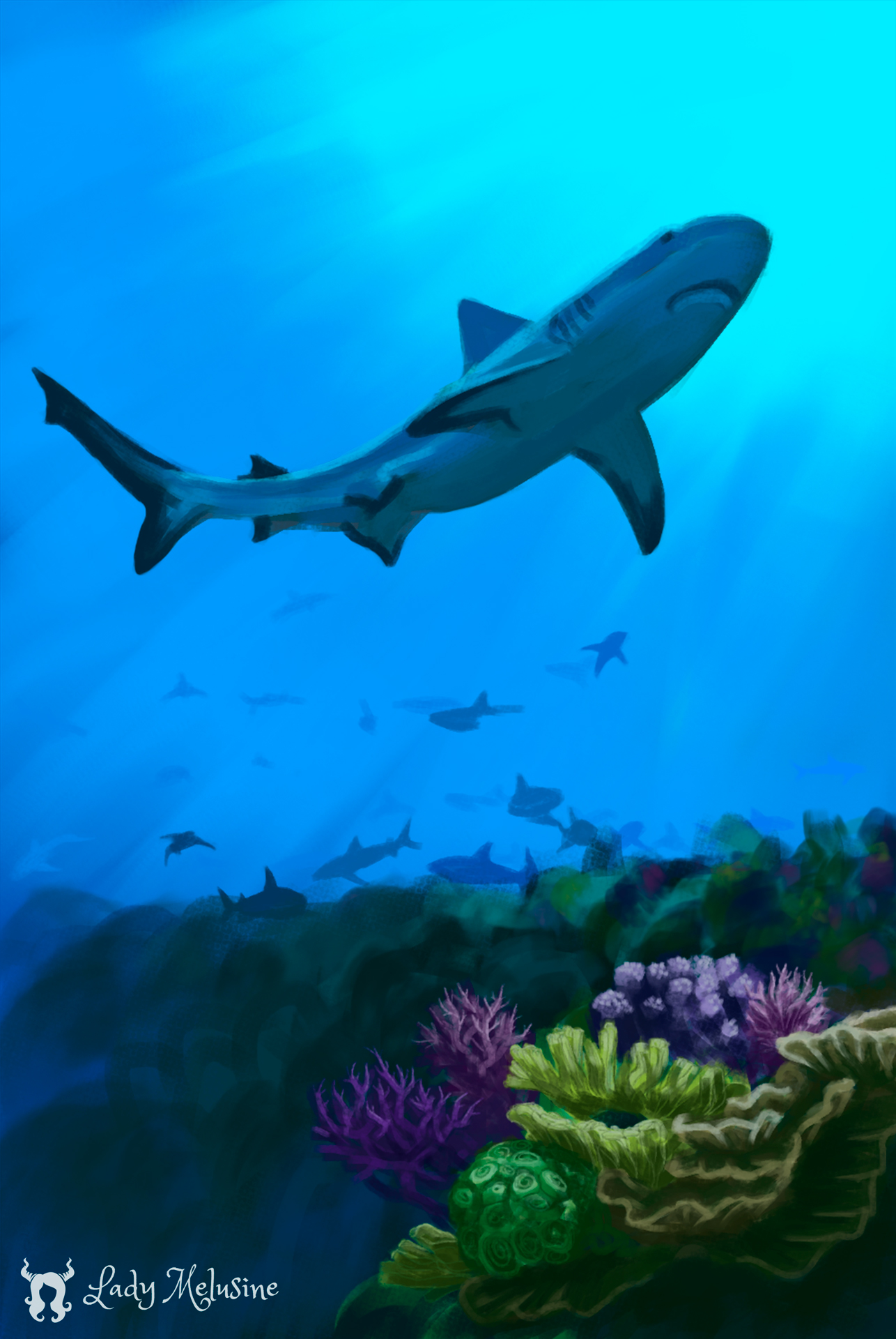 Digital Painting Carte Recifs Requins 05 Lady Melusine