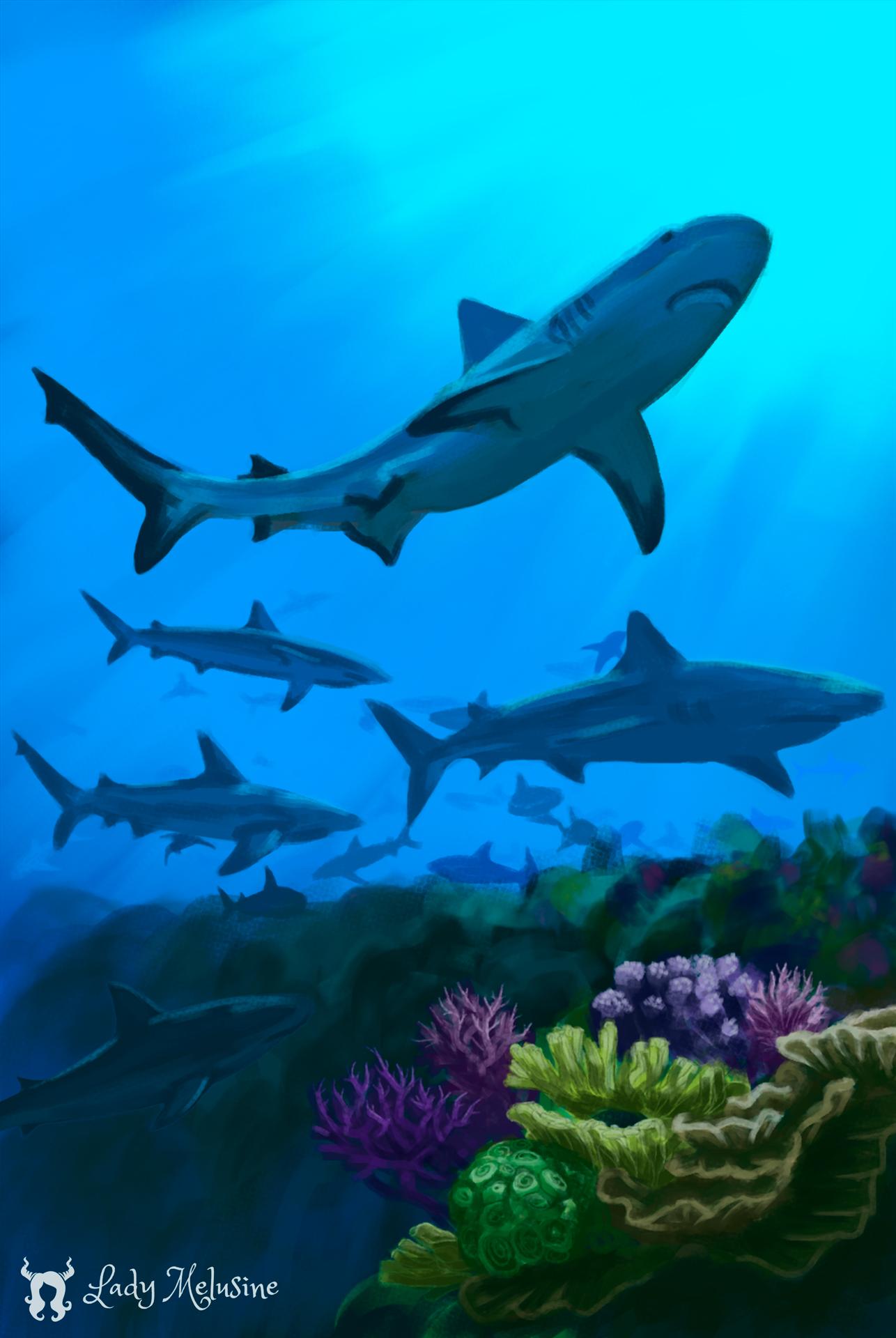 Digital Painting Carte Recifs Requins 06 Lady Melusine