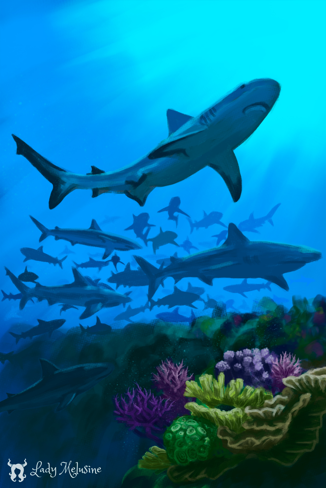 Digital Painting Carte Recifs Requins 07 Lady Melusine