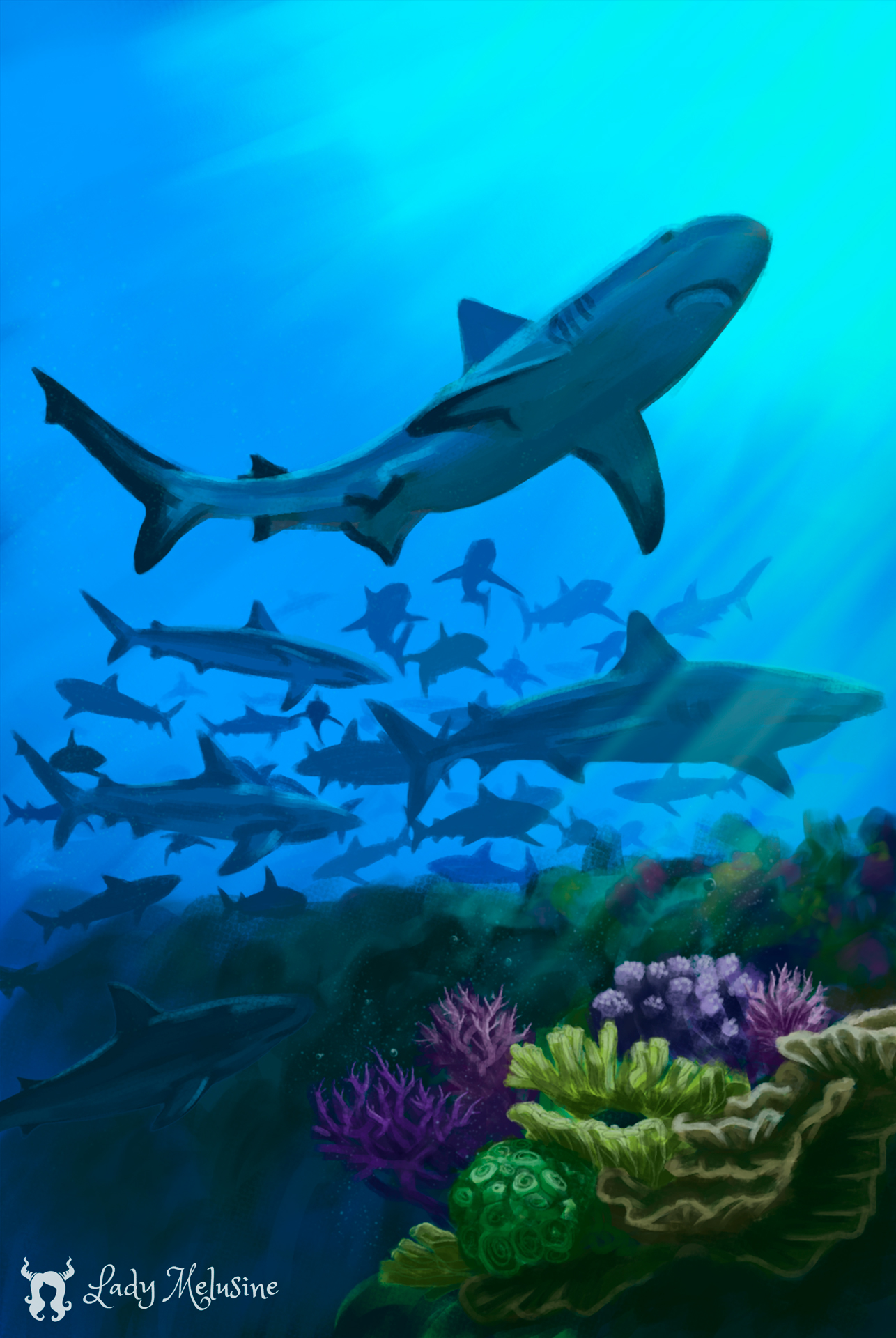Digital Painting Carte Recifs Requins 08 Lady Melusine