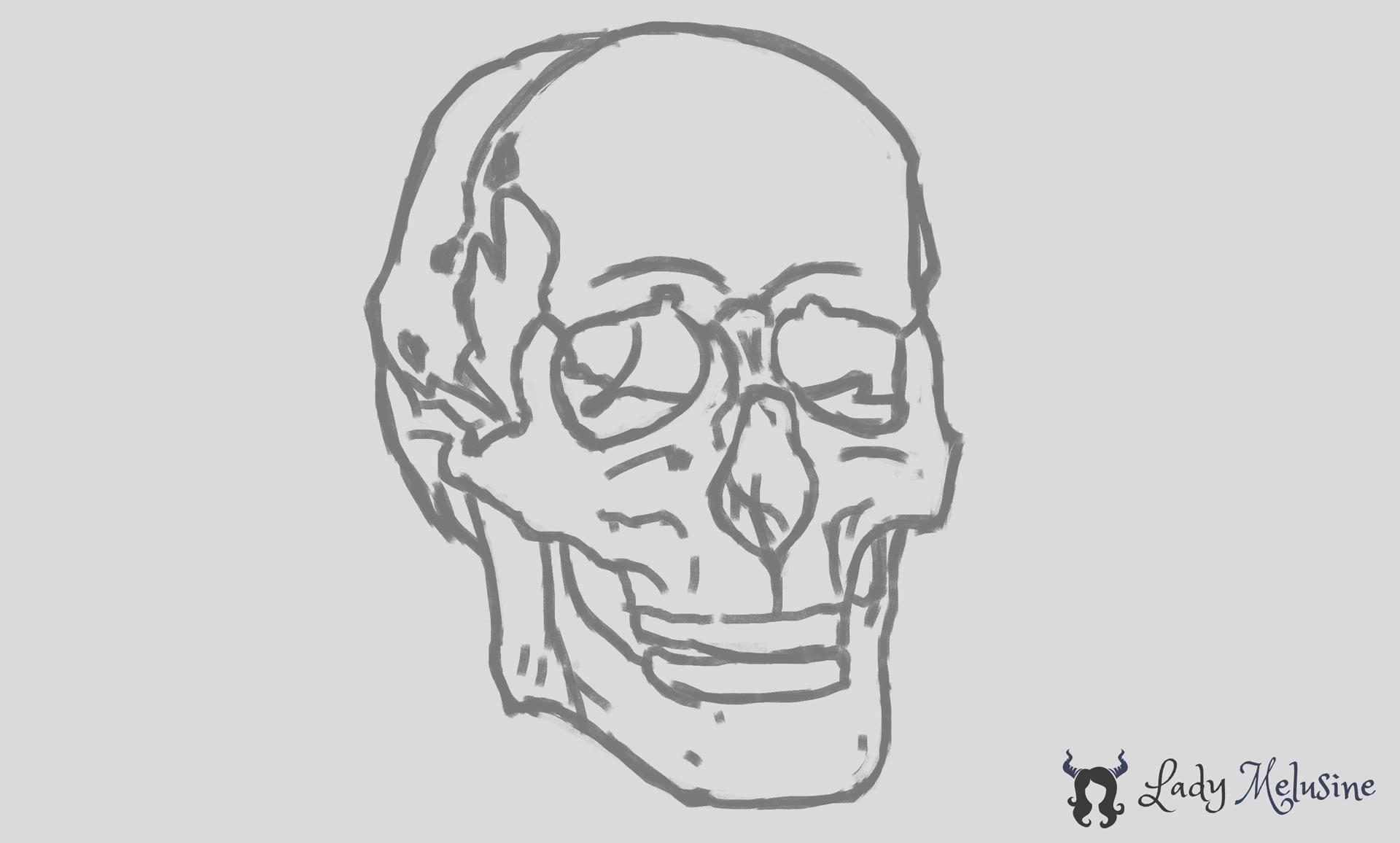 Digital Painting Croquis Crâne 02 Lady Melusine