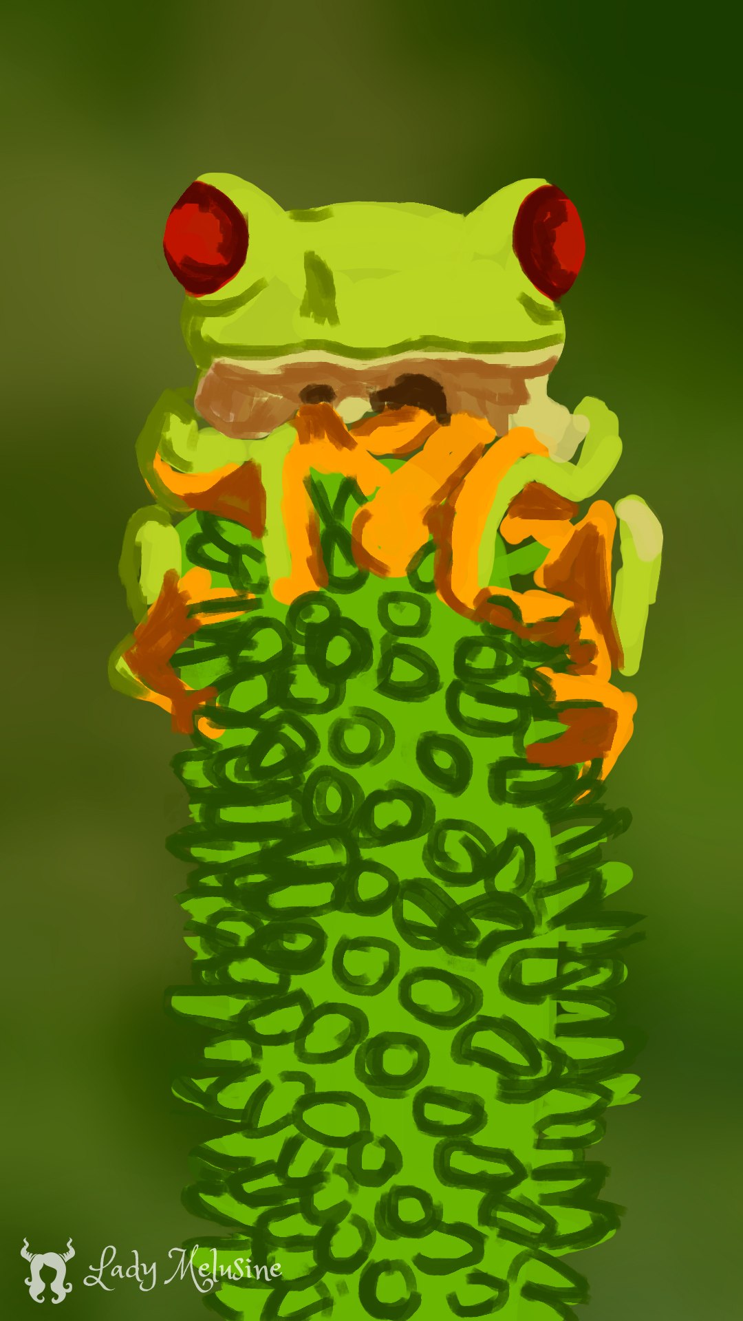 Digital Painting grenouille 04 Lady Melusine