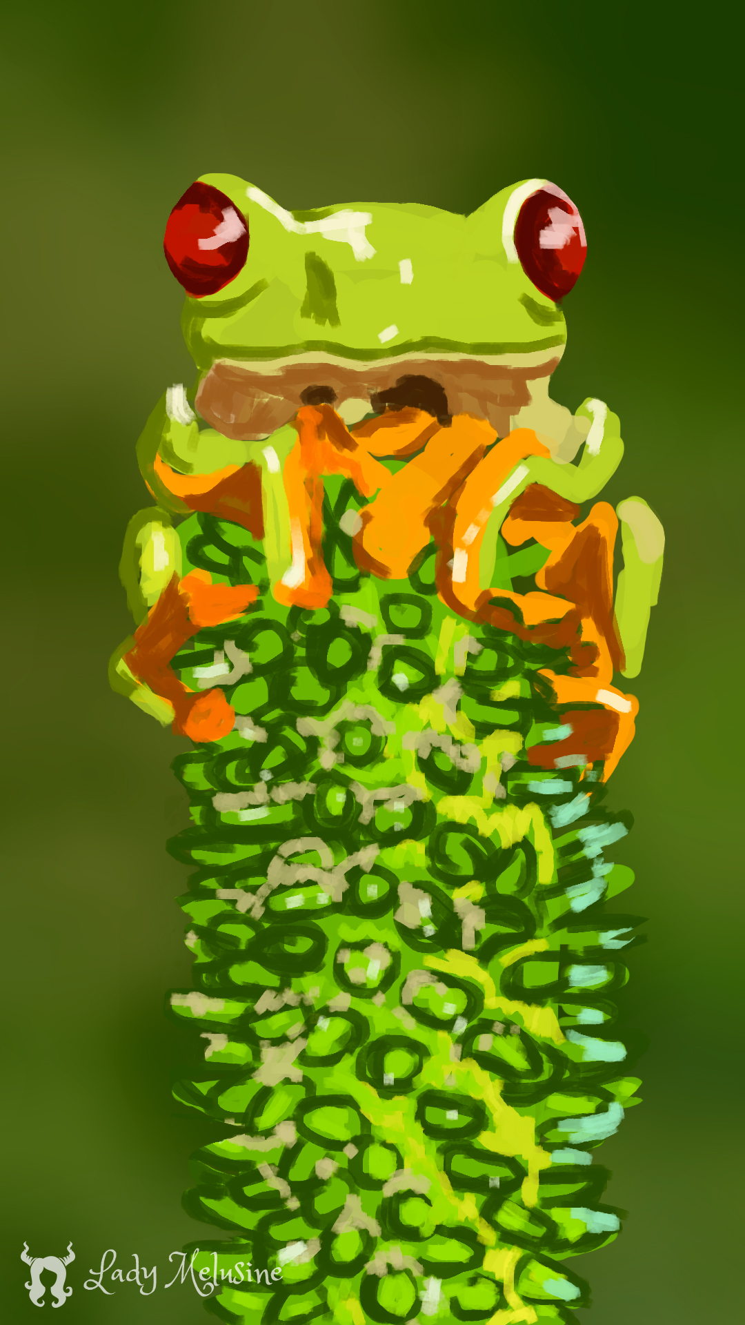 Digital Painting grenouille 05 Lady Melusine