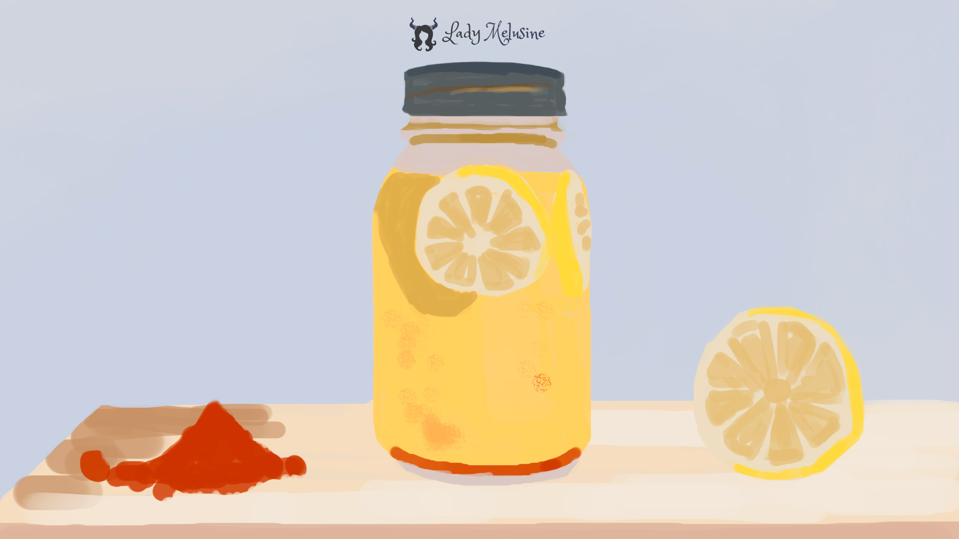 Digital Painting Jar of lemons 02 Lady Melusine