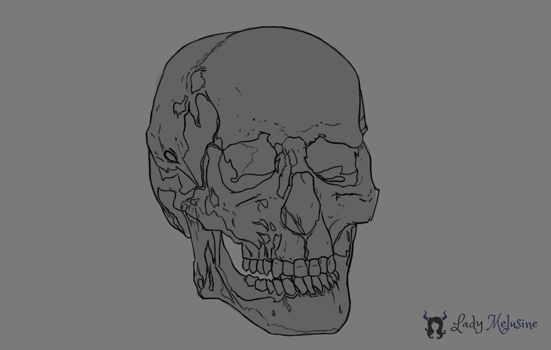 Digital Painting Crâne 01 Lady Melusine