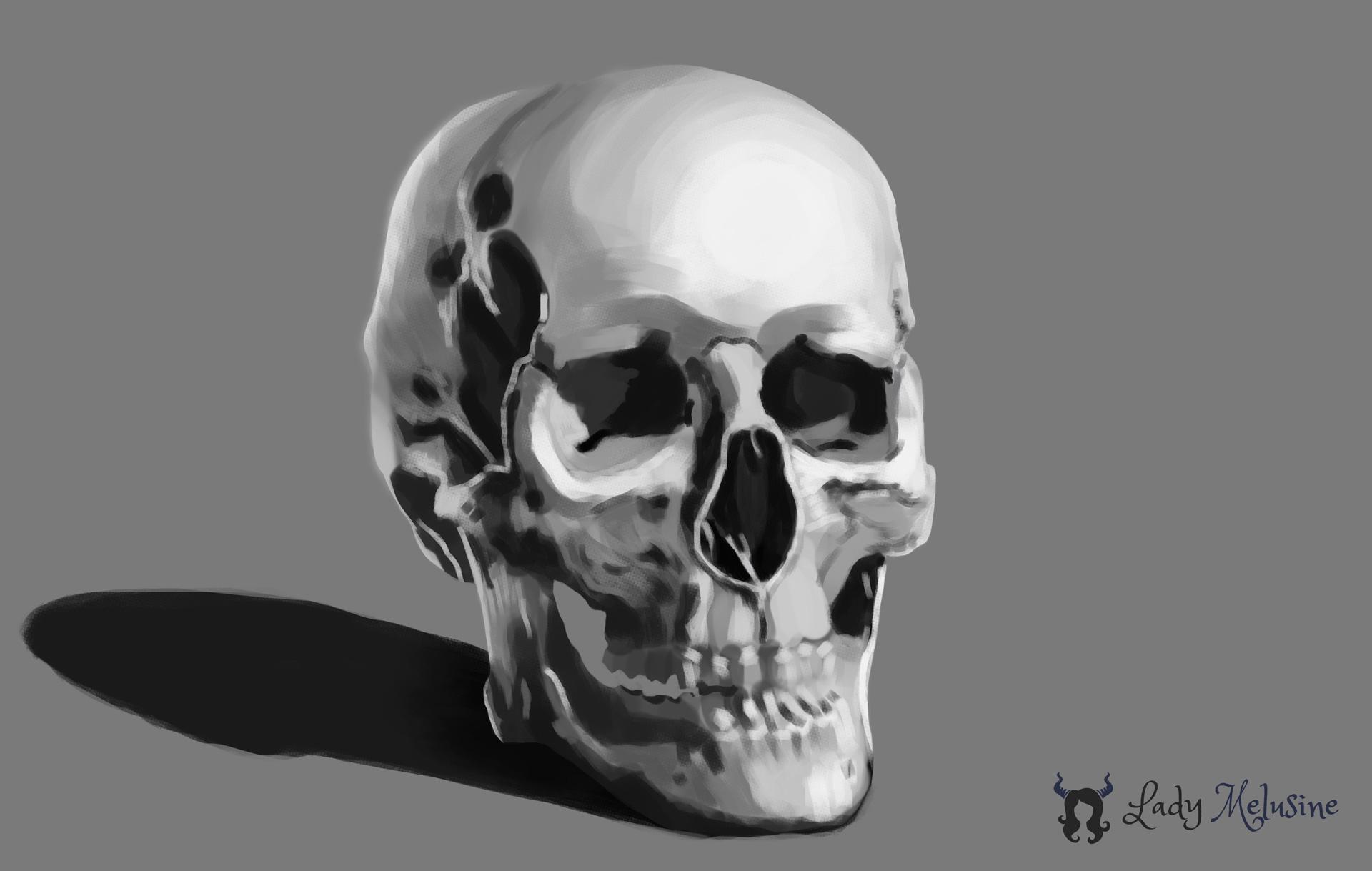 Digital Painting Crâne 02 Lady Melusine