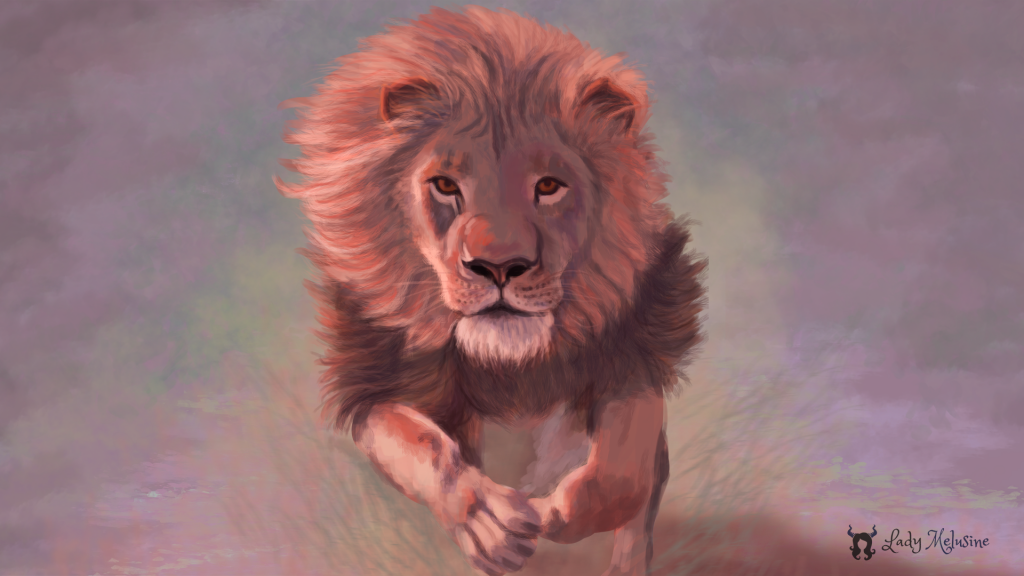 Digital Painting lion rose Lady Melusine