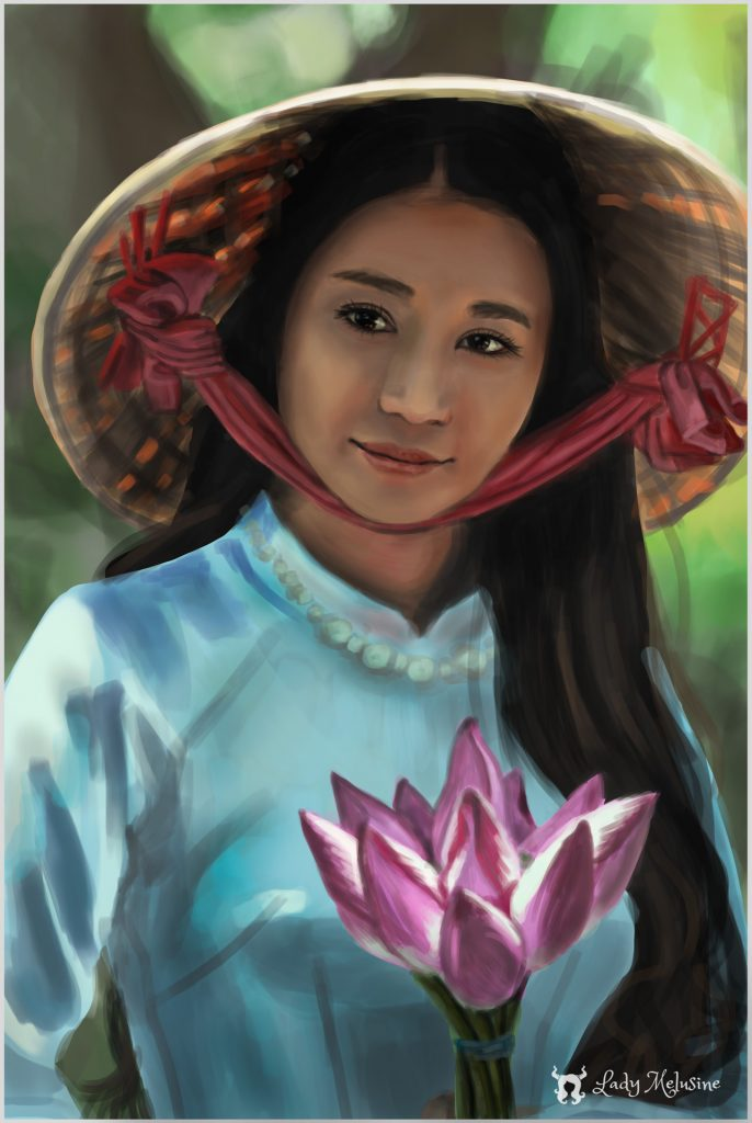 Digital Painting Lady Melusine Etude Femme asiatique