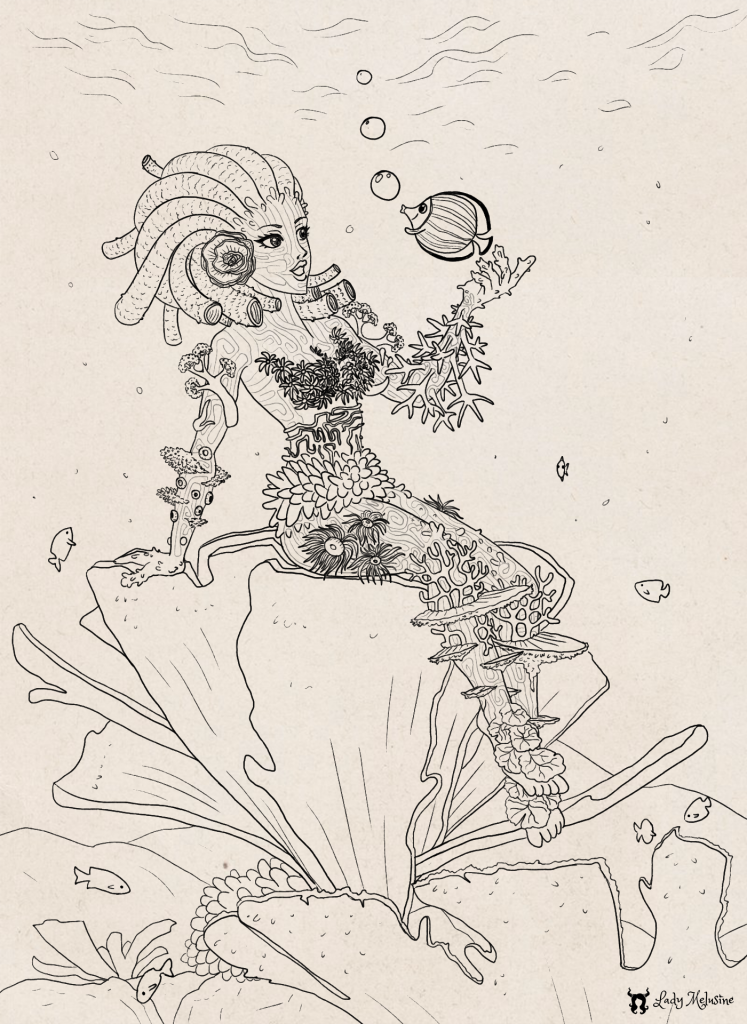 Inktober 2020 Day 20 Coral Lady Melusine