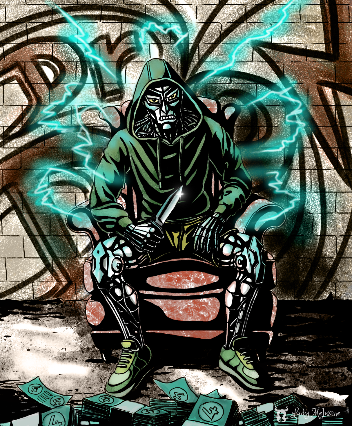 Fan Art Marvel Dr Doom Gangsta edition - Lady Melusine