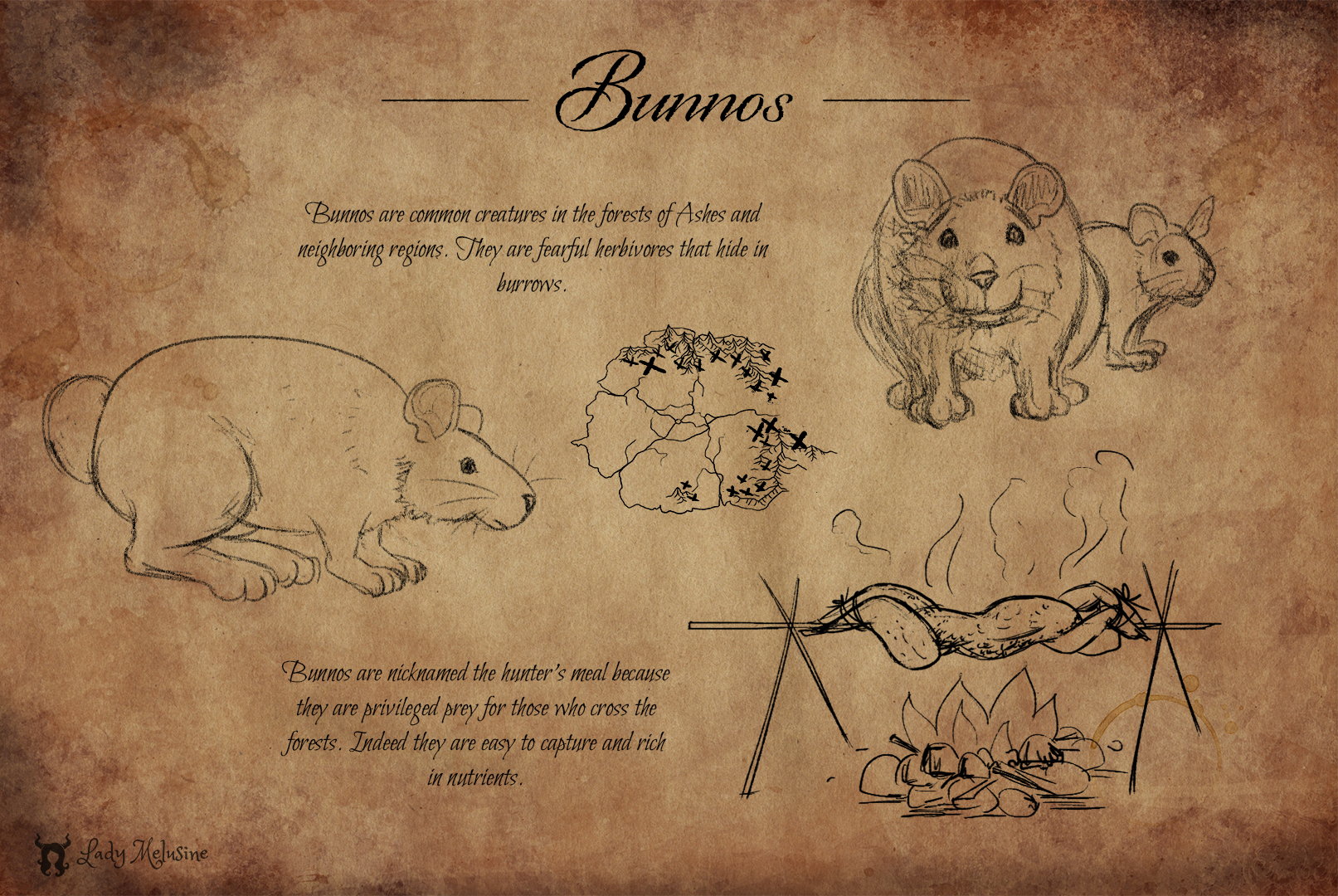 Fantastic animal sketch Bunnos Lady Melusine