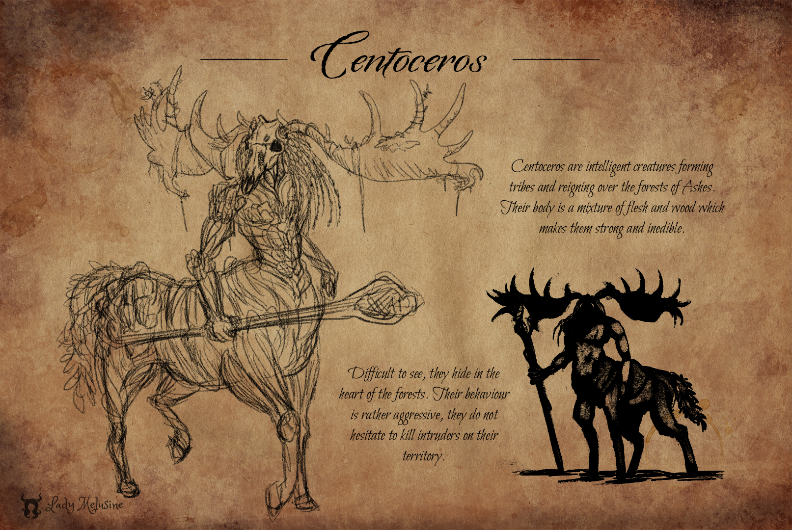Fantastic animal sketch Centoceros Lady Melusine